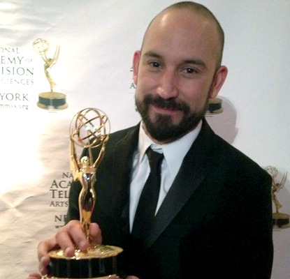 Mario Gonzalez with emmy award